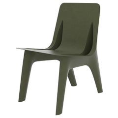 J-Chair Dining Polished Olive Green Color Carbon Steel Seating by Zieta