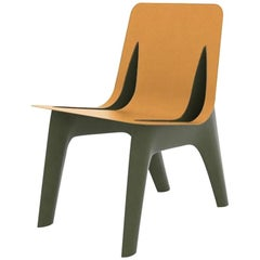 J-Chair Dining Polished Olive Green Color Carbon Steel & Leather Seating, Zieta
