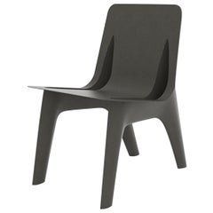 J-Chair Dining Polished Umbra Grey Color Carbon Steel Seating by Zieta