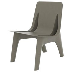 J-Chair Lounge Polished Beige Grey Color Carbon Steel Seating by Zieta
