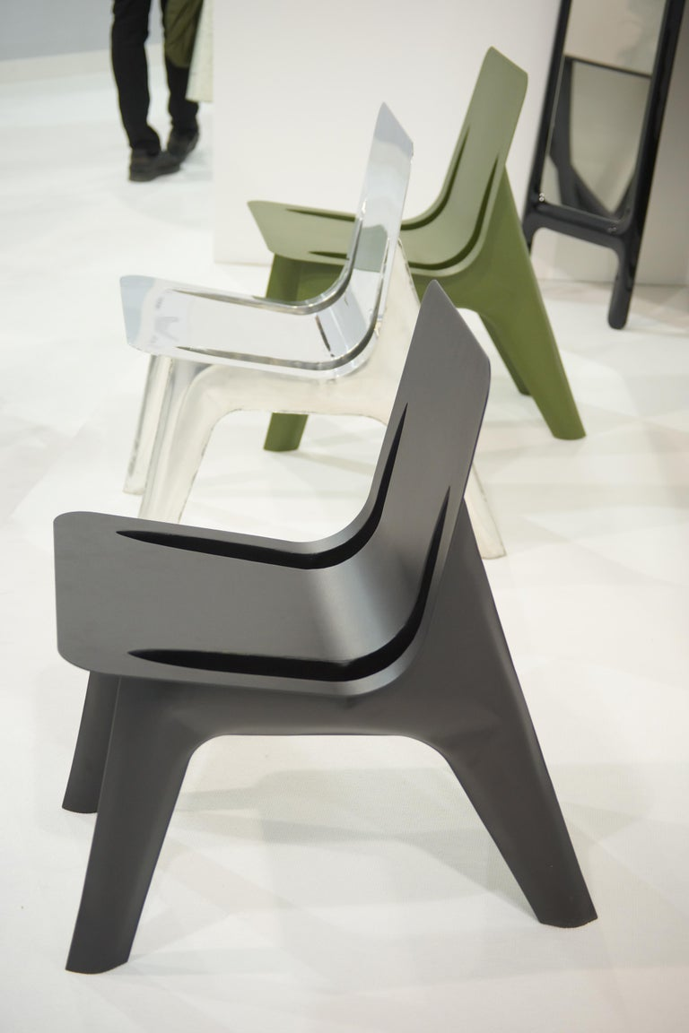 J-Chair Lounge Polished Graphite Grey Color Carbon Steel Seating by Zieta In New Condition For Sale In Beverly Hills, CA