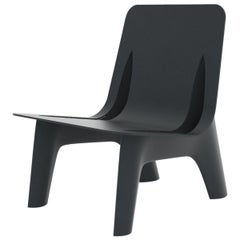 J-Chair Lounge Polished Graphite Grey Color Carbon Steel Seating by Zieta