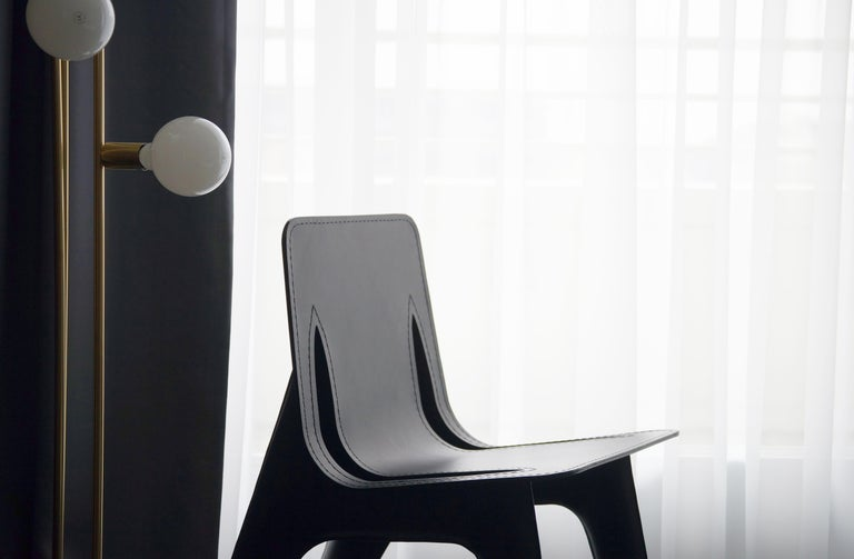 J-Chair Lounge Polished Graphite Grey Color Carbon Steel and Leather Seating In New Condition For Sale In Beverly Hills, CA