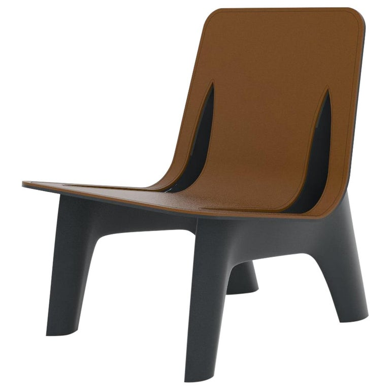 J-Chair Lounge Polished Graphite Grey Color Carbon Steel and Leather Seating For Sale
