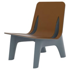 J-Chair Lounge Polished Grey Blue Color Aluminum and Leather Seating by Zieta