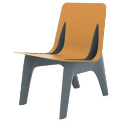 J-Chair Lounge Polished Grey Blue Color Carbon Steel+Leather Seating by Zieta