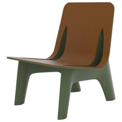 J-Chair Lounge Polished Olive Green Color Aluminum and Leather Seating by Zieta