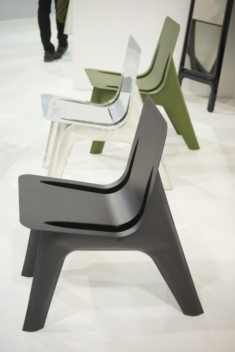 J-Chair Lounge Polished Olive Green Color Carbon Steel Seating by Zieta In New Condition For Sale In Beverly Hills, CA