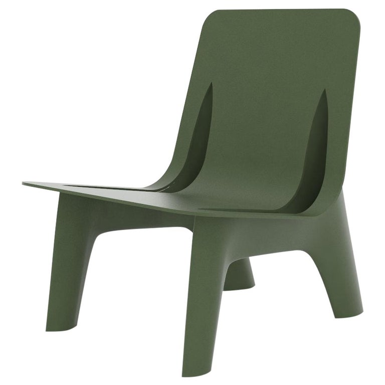 J-Chair Lounge Polished Olive Green Color Carbon Steel Seating by Zieta For Sale