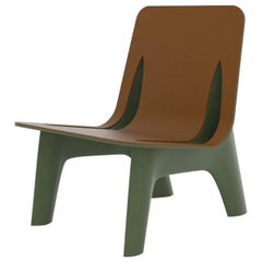J-Chair Lounge Polished Olive Green Color Carbon Steel+Leather Seating by Zieta