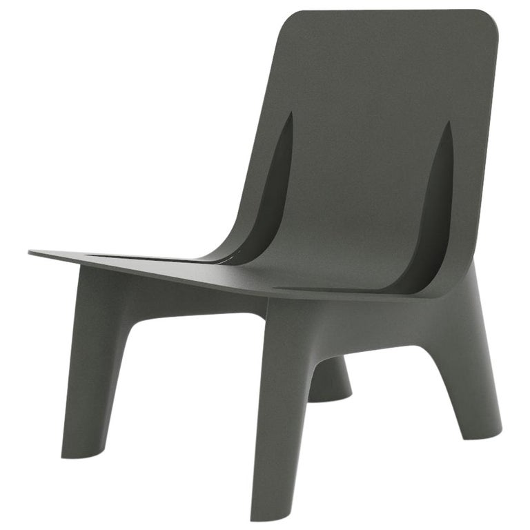 J-Chair Lounge Polished Umbra Grey Color Carbon Steel Seating by Zieta For Sale
