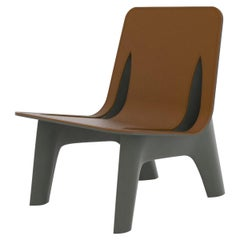 J-Chair Lounge Polished Umbra Grey Color Carbon Steel and Leather Seating, Zieta