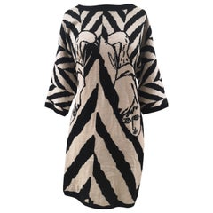 J. Charles de Castelbajac black and white faces wool dress
