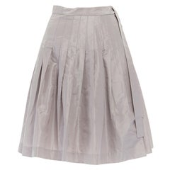 """J CREW COLLECTION silver grey 100% silk pleated tie waist flared skirt US0 26"""""""