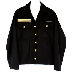 Embellished Rhinestone Jacket Black Military Gold Braid Gold Buttons J Dauphin