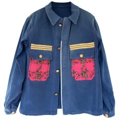 Sustainable French Work Jacket  Light Blue Neon Pink J Dauphin In Stock