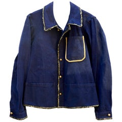 French Jacket Embellished Upcycled Blue Gold Buttons Lurex Tweed J Dauphin