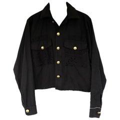 Embellished Rhinestone Jacket Cropped Lurex Tweed Gold Buttons Black J Dauphin