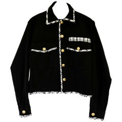Cropped Tweed Jacket Upcycled Us Military Vtg Black White J Dauphin In Stock
