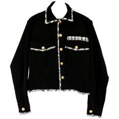 Embellished Blazer Cropped Jacket Military White Tweed Gold Button J Dauphin