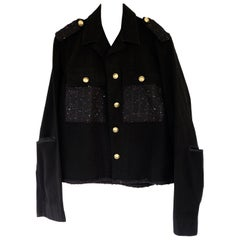 Embellished Evening Jacket Black Sequin Tweed Cropped Epaulettes J Dauphin