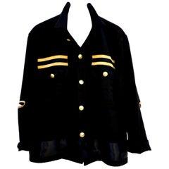 Upcycled Vintage Jacket Black US Military Gold Black Gold Trim Elbow J Dauphin