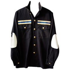 Black White Jacket Vintage US Military Upcycled Elbow Patch J Dauphin In Stock