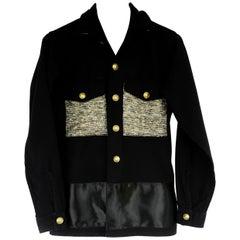 J Dauphin Upcycled Vintage Black Military Gold Lurex Tweed Silk Ribbon Jacket
