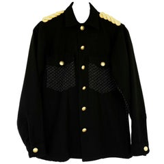 Embellished Jacket Evening Blazer Black lurex Tweed Epaulettes Vintage J Dauphin