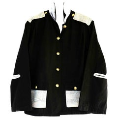 Embellished French Work Jacket Black Gold Button Painter Style Tweed J Dauphin