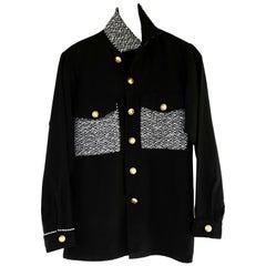 Embellished Rhinestone Jacket Black Lurex Tweed Military Gold Buttons J Dauphin