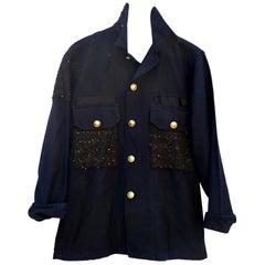 Upcycled Jacket Vintage Dark Blue Military Paint Black tweed J Dauphin In Stock