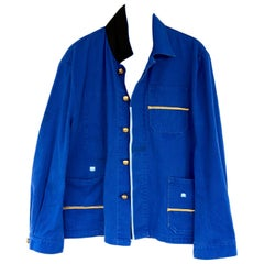 J Dauphin Upcycled Vintage French Blue Work Wear Gold Braid Black Silk Jacket
