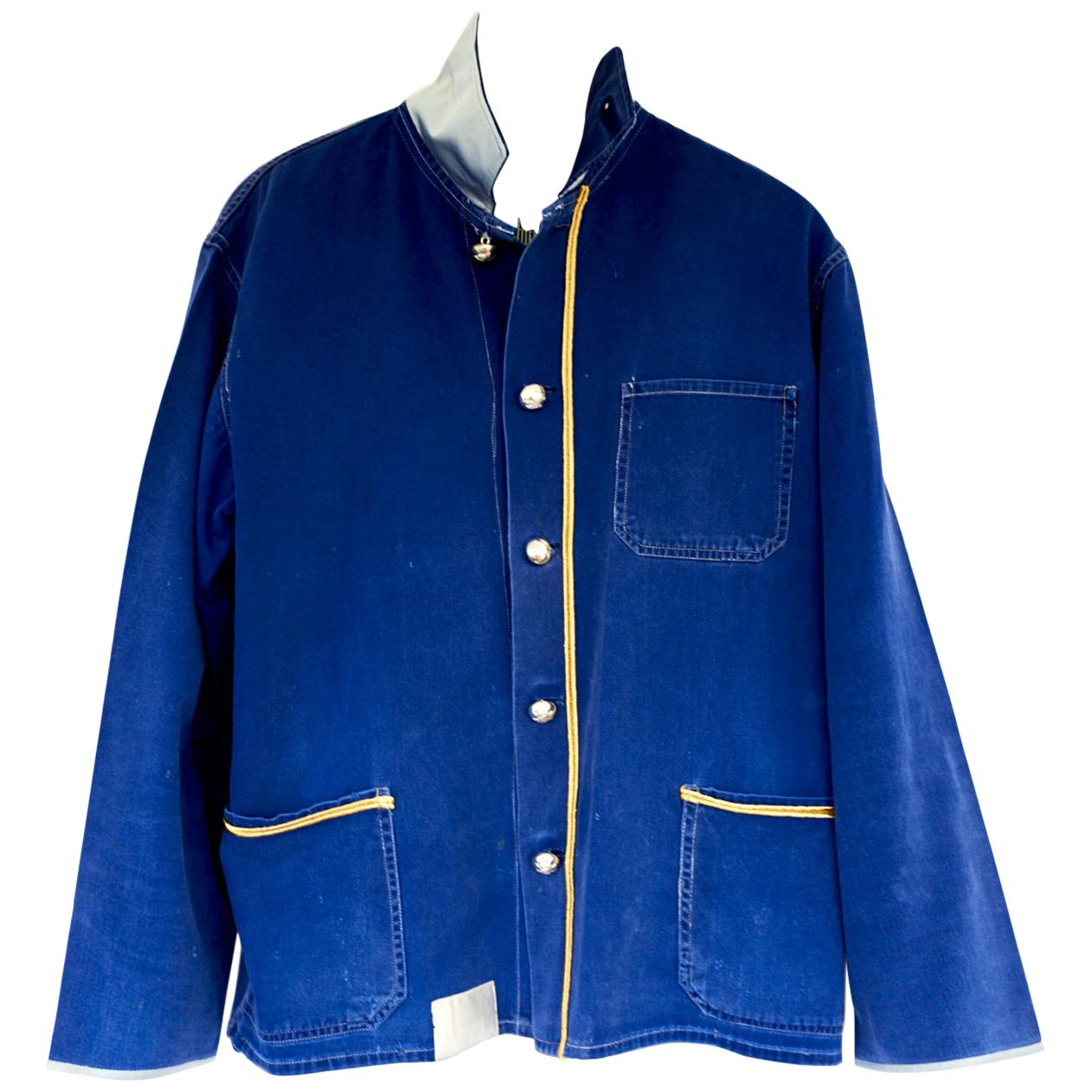 Embellished French Blue Jacket Painter Style Silver Buttons Gold Braid J Dauphin