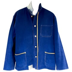 Jacket Distressed Upcycled Vintage French Blue Gold Braids J Dauphin In Stock