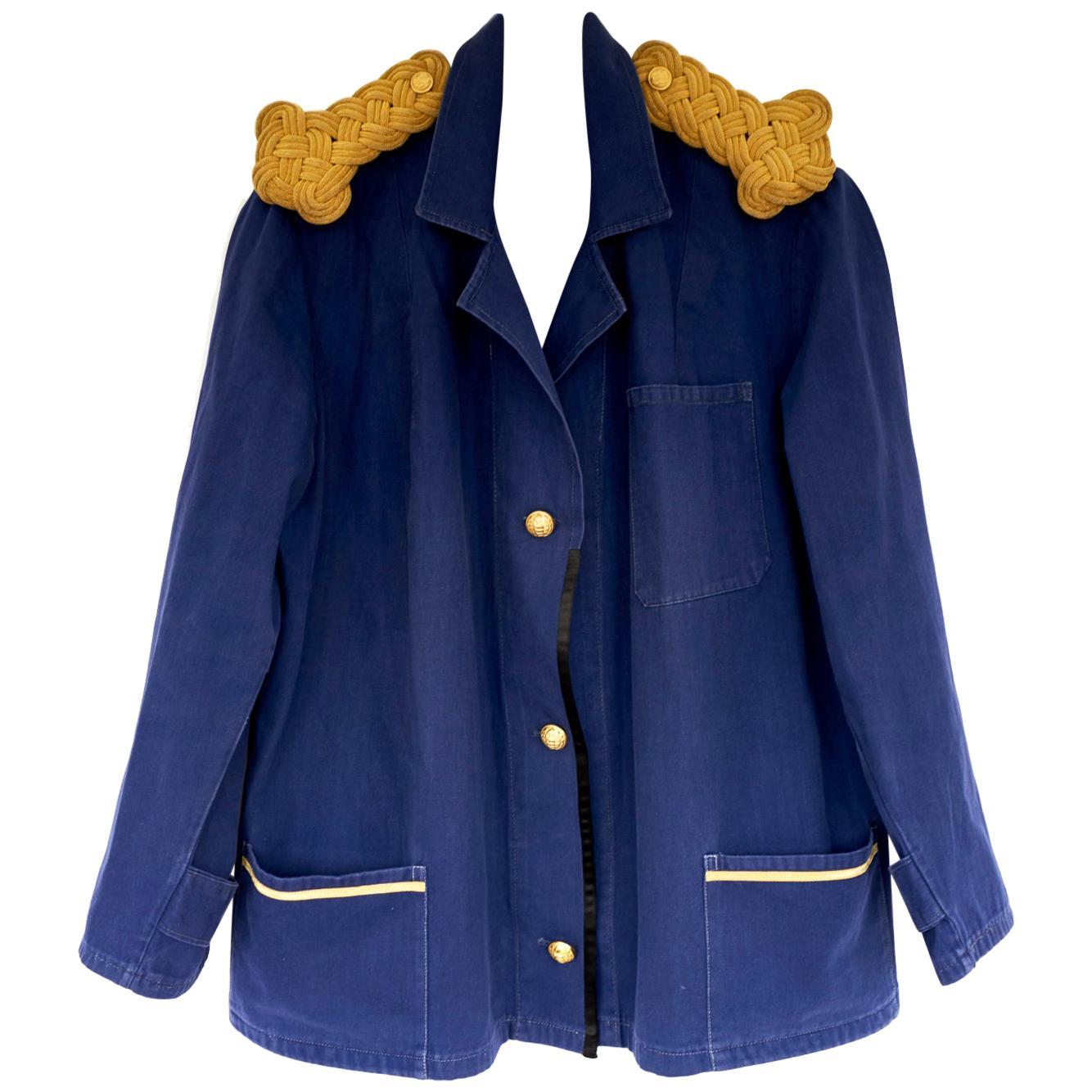 Blazer Jacket Sailor Embellished Epaulettes French Blue One of a kind J Dauphin
