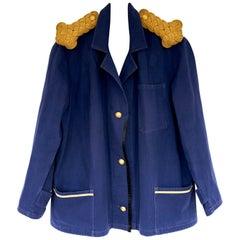 Gold Epaulettes Oversize Jacket Upcycled Vintage French Blue J Dauphin In Stock
