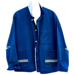 Upcycled Vintage Jacket Blue French Work Wear Light Blue Open Elbow J Dauphin