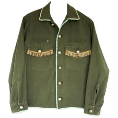 Fringe Embellished Jacket Cropped Green Military Gold Buttons French Gold Tweed