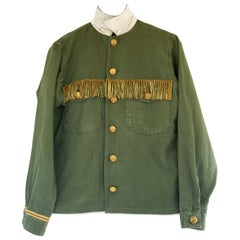 Embellished Fringe Green Military Jacket Gold Button Silk Collar J Dauphin