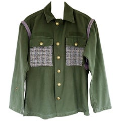 Vintage Jacket Green Us Military  Upcycled Lilac Sequin Tweed J Dauphin in Stock