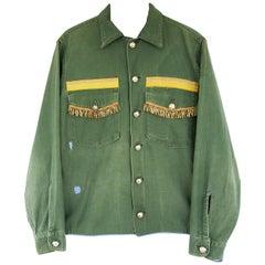 Antique Metal Fringe Upcycled VTG US Military Green Jacket J Dauphin In Stock