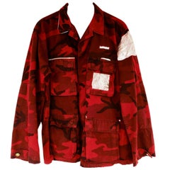 Embellished Rhinestone Jacket Red Camouflage Military Pink Silver Lurex Brocade
