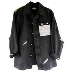 Us Military Jacket Upcycled Vintage Grey Light Blue Rainbow Tweed J Dauphin