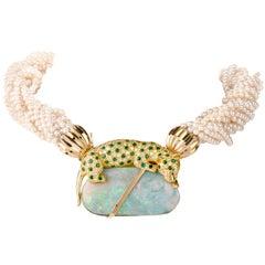 J Duffey Diamond Emerald and Opal 14-Strand Pearl 18 Karat Choker Necklace
