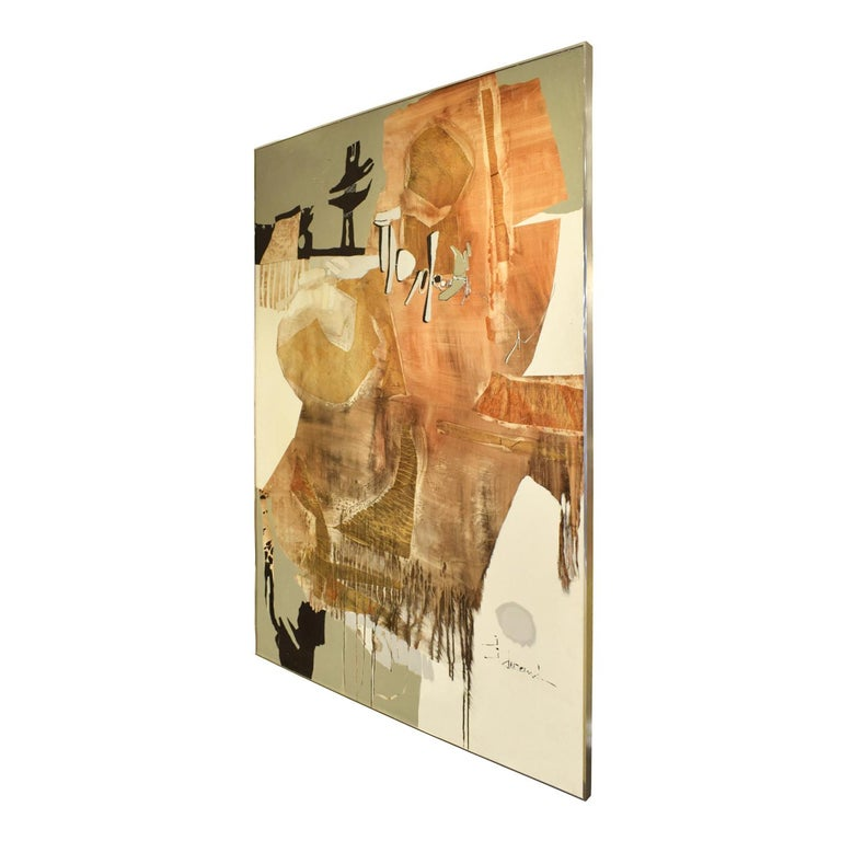 Large abstract painting on board by J. Durand, American 1960's (signed on front). This work is vibrant and in warm colors.