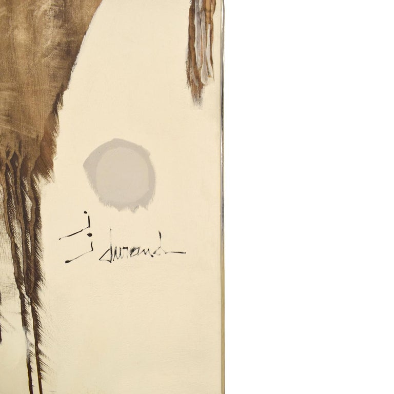 Hand-Crafted J. Durand Large Abstract Painting on Board 1960s (signed) For Sale