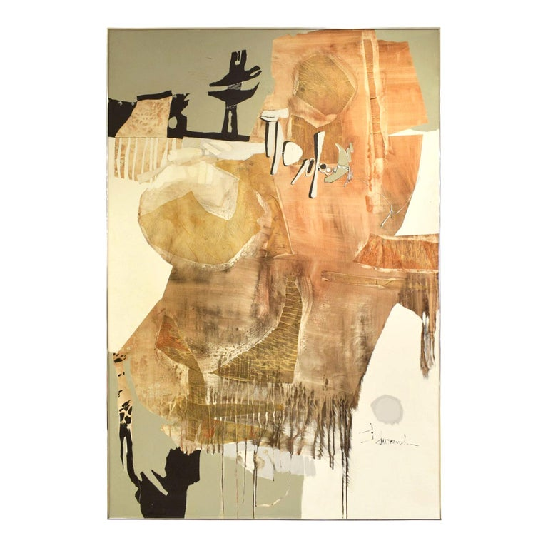 J. Durand Large Abstract Painting on Board 1960s (signed) For Sale