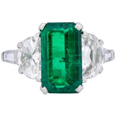 J. E. Caldwell Art Deco 5.96 Carat Colombian Emerald Diamond Platinum Ring AGL