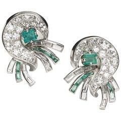 J. E. Caldwell Emerald and Diamond Earrings, circa 1940